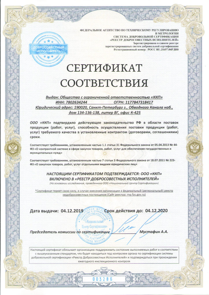 КПП реестр добросовестных исполнителей